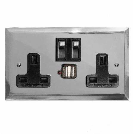 Mode Switched Socket 2 Gang USB Polished Chrome & Black Trim