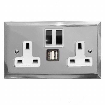 Mode Switched Socket 2 Gang USB Polished Chrome & White Trim
