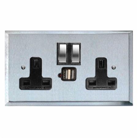 Mode Switched Socket 2 Gang USB Satin Chrome & Black Trim