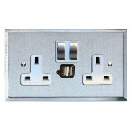 Mode Switched Socket 2 Gang USB Satin Chrome & White Trim