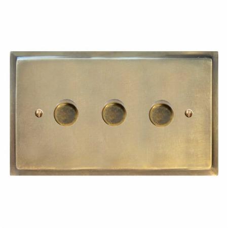 Mode Dimmer Switch 3 Gang Antique Satin Brass