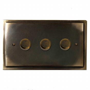 Mode Dimmer Switch 3 Gang Dark Antique Relief
