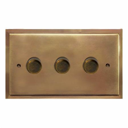 Mode Dimmer Switch 3 Gang Hand Aged Brass