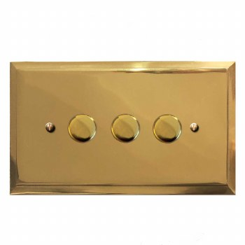 Mode Dimmer Switch 3 Gang Polished Brass Lacquered