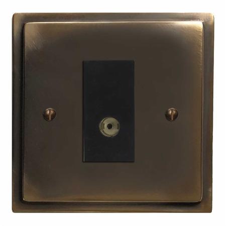 Mode TV Socket Outlet Dark Antique Relief