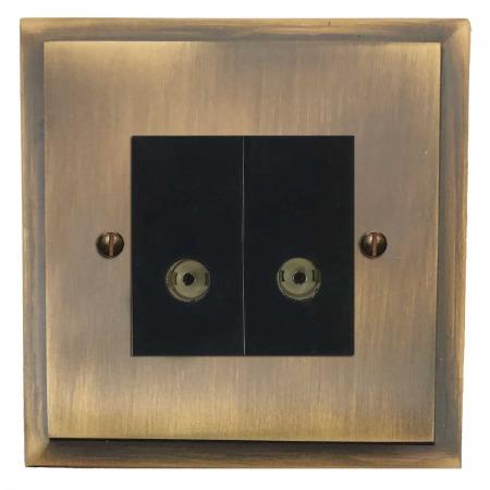 Mode TV Socket Outlet 2 Gang Antique Brass Lacquered