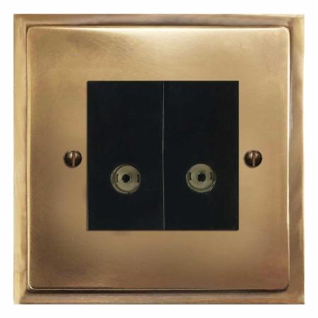 Mode TV Socket Outlet 2 Gang Hand Aged Brass