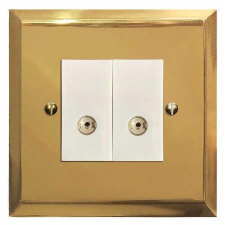 Mode TV Socket Outlet 2 Gang Polished Brass Lacquered & White Trim