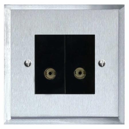 Mode TV Socket Outlet 2 Gang Satin Chrome & Black Trim