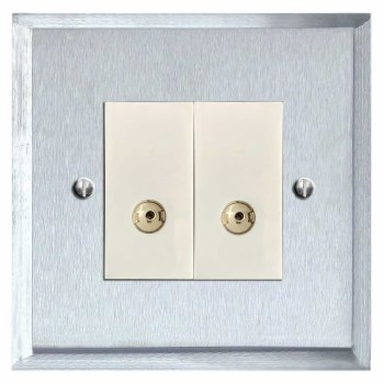 Mode TV Socket Outlet 2 Gang Satin Chrome & White Trim