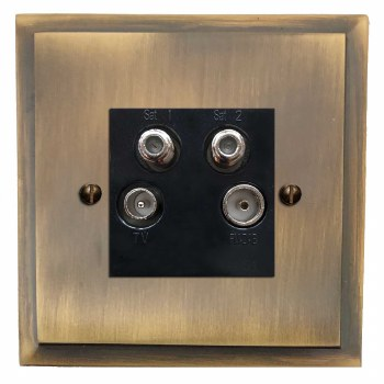 Mode Quadplex TV Socket Antique Brass Lacquered