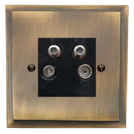 Mode Quadplex TV Socket Antique Brass Lacquered