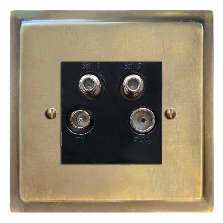 Mode Quadplex TV Socket Antique Satin Brass