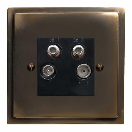Mode Quadplex TV Socket Dark Antique Relief