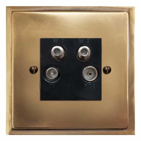 Mode Quadplex TV Socket Hand Aged Brass