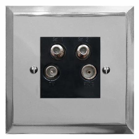 Mode Quadplex TV Socket Polished Chrome & Black Trim