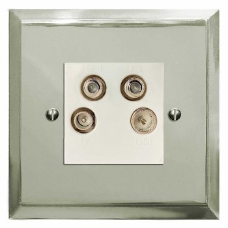 Mode Quadplex TV Socket Polished Nickel