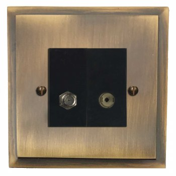 Mode Satellite & TV Socket Outlet Antique Brass Lacquered