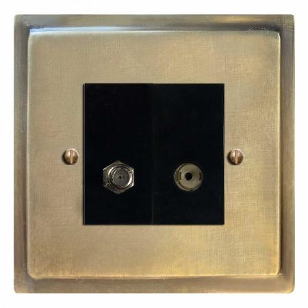 Mode Satellite & TV Socket Outlet Antique Satin Brass