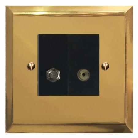 Mode Satellite & TV Socket Outlet Polished Brass Lacquered & Black Trim