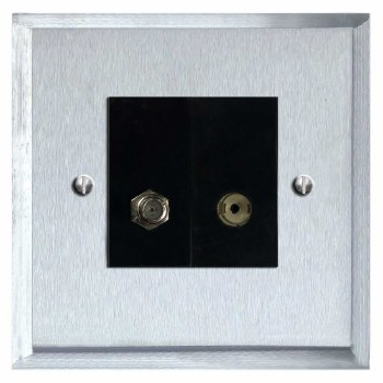 Mode Satellite & TV Socket Outlet Satin Chrome & Black Trim