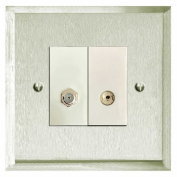 Mode Satellite & TV Socket Outlet Satin Nickel