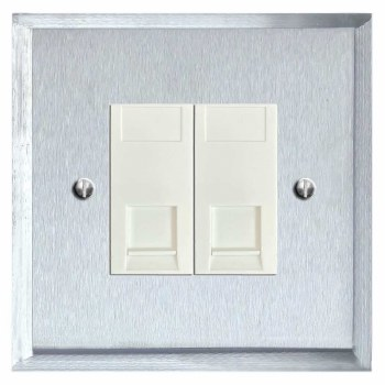 Mode Telephone Socket Secondary 2 Gang Satin Chrome & White Trim