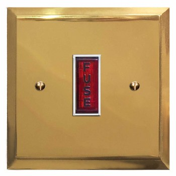 Mode Fused Spur Connection Unit Illuminated Indicator Polished Brass Lacquered & White Trim