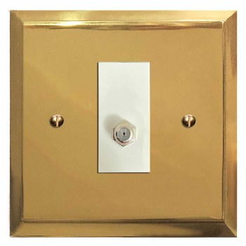 Mode Satellite Socket Polished Brass Lacquered & White Trim
