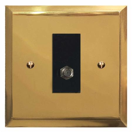 Mode Satellite Socket Polished Brass Lacquered & Black Trim