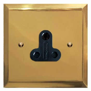 Mode Lighting Socket Round Pin 5A Polished Brass Lacquered & Black Trim