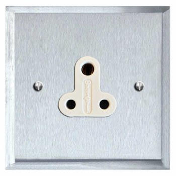Mode Lighting Socket Round Pin 5A Satin Chrome & White Trim