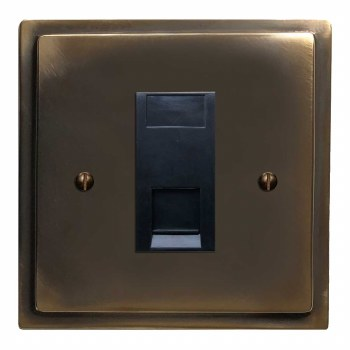 Mode RJ45 Socket CAT 5 Dark Antique Relief