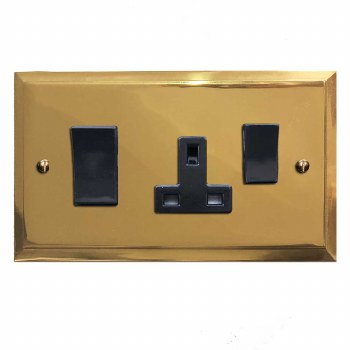 Mode Socket & Cooker Switch Polished Brass Lacquered & Black Trim