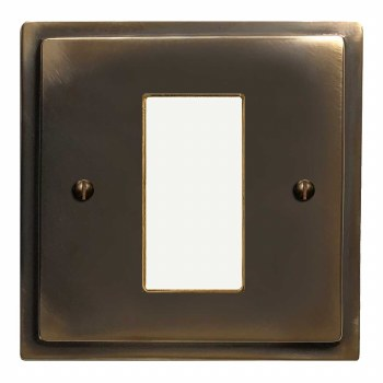 Mode Plate for Modular Electrical Components 50x25mm Dark Antique Relief