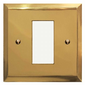 Mode Plate for Modular Electrical Components 50x25mm Polished Brass Unlacquered