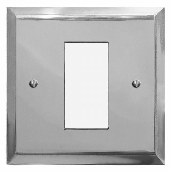 Mode Plate for Modular Electrical Components 50x25mm Polished Chrome