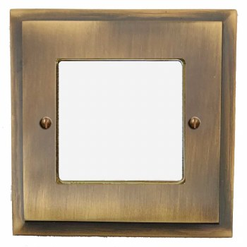 Mode Plate for Modular Electrical Components 50x50mm Antique Brass Lacquered