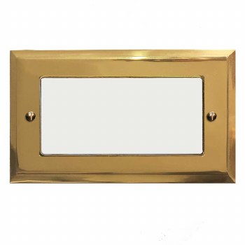 Mode Plate for Modular Electrical Components 50x100mm Polished Brass Unlacquered