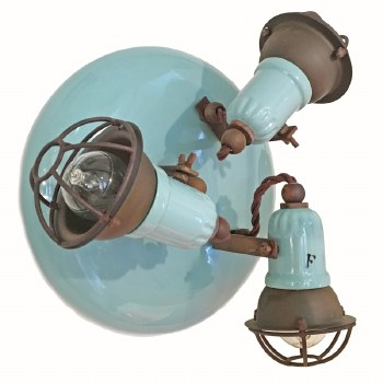 Italian Ceramic Triple Industrial Spotlight Azzurro