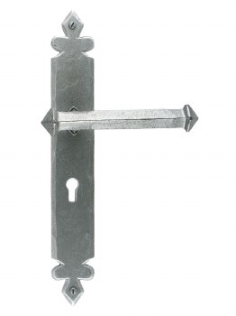 From The Anvil Tudor Door Handles Lock Plate Pewter Patina