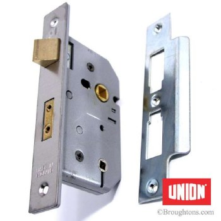 "Union Bathroom Door Lock 2.5"" Satin Chrome"
