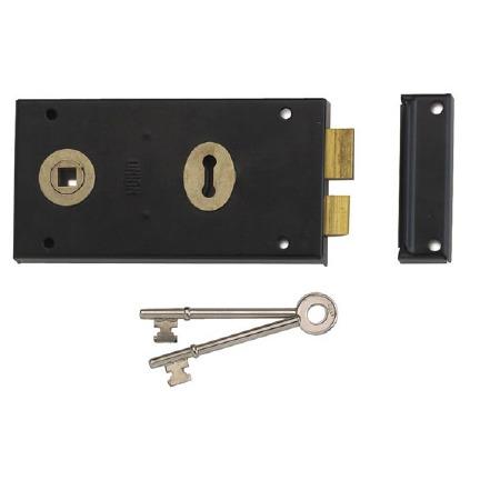 """Union Rim Lock Black 5.1/2"""" x 3"""""""