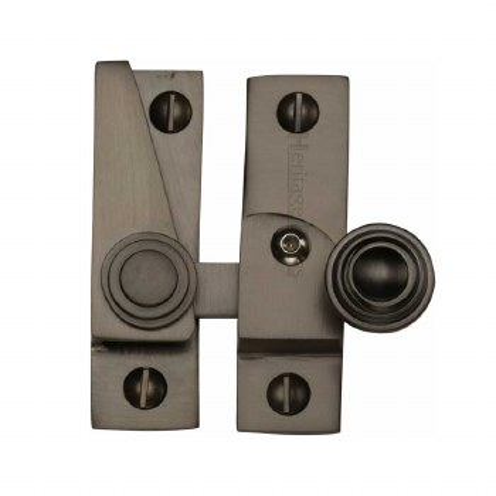 Heritage Hook Plate Sash Fastener Lockable V1104 Matt Bronze