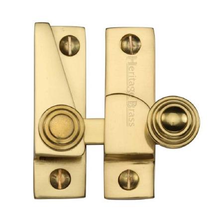 Heritage Hook Plate Sash Fastener V1104 Polished Brass