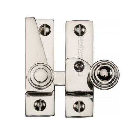 Heritage Hook Plate Sash Fastener Lockable V1104 Polished Nickel