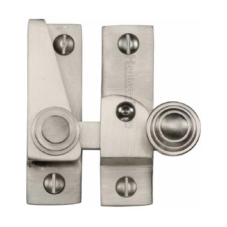 Heritage Hook Plate Sash Fastener Lockable V1104 Satin Nickel