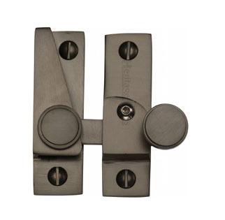 Heritage Hook Plate Sash Fastener V1106L Lockable Matt Bronze