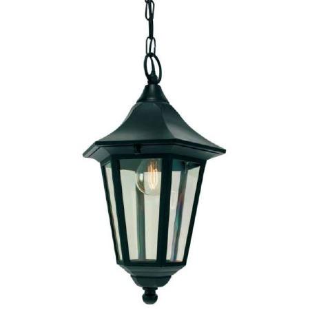 Elstead Valencia Hanging Outdoor Chain Lantern Light Black