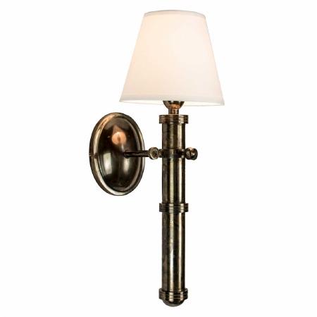 Velsheda Single Wall Light Sconce - Renovated Brass & White Shade